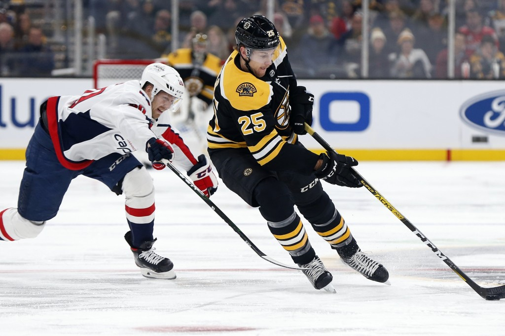 Boston Bruins' Brandon Carlo (25) brings the puck up against Washington Capitals' Lars Eller (20) during the first period of an NHL hockey game in Bos...