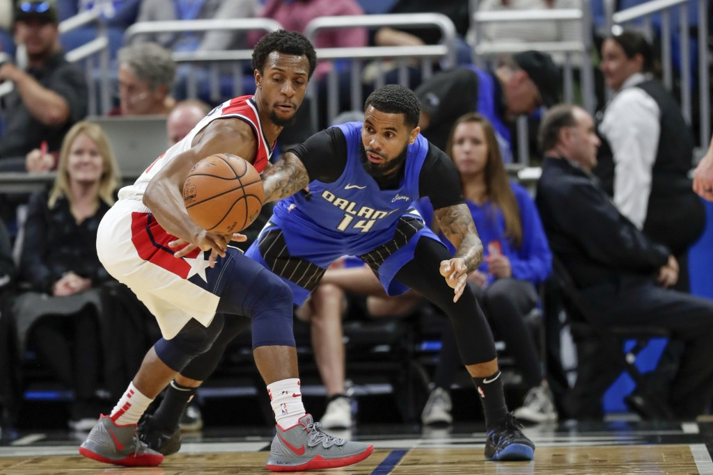 Washington Wizards' Ish Smith, left, tries to grab the ball away from Orlando Magic's D.J. Augustin during the first half of an NBA basketball game, S...