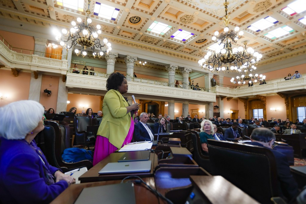 In this Oct. 30, 2019, photo, Ohio State Representative Stephanie Howse (D), of District 11, speaks during a legislative session at the Ohio Statehous...