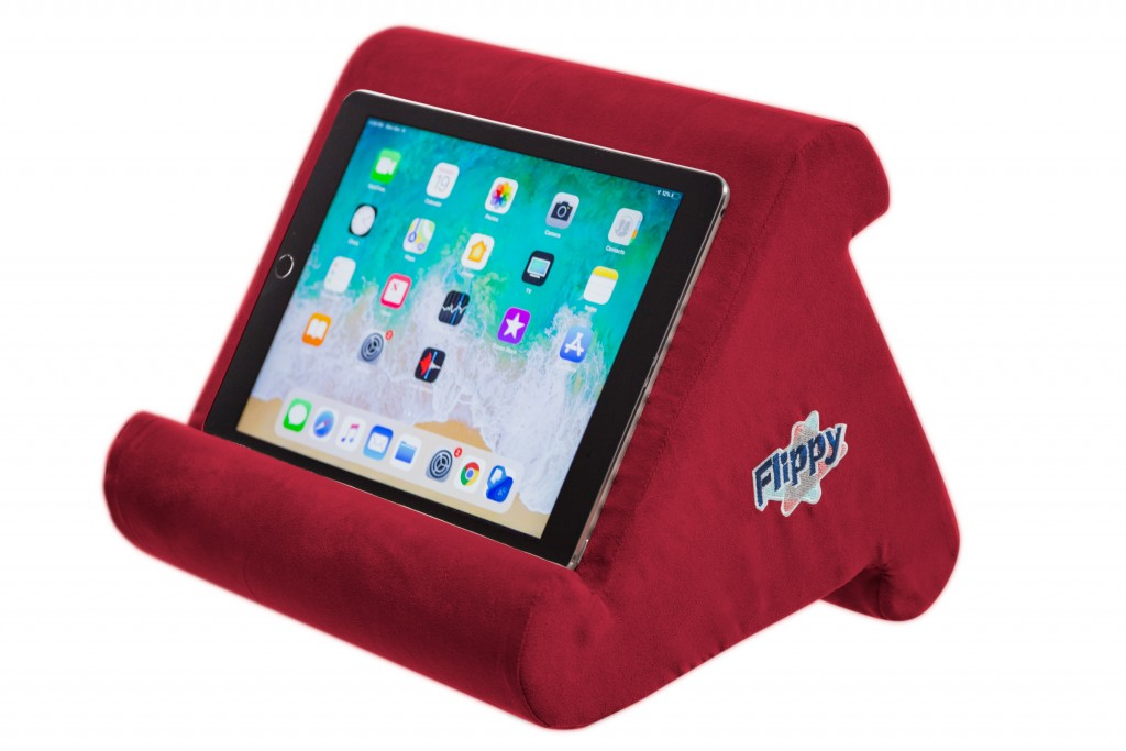 This photo shows the Flippy pillow device stand for tablets, books and e-readers. Chances are there's at least one TV binger on your holiday gift list...
