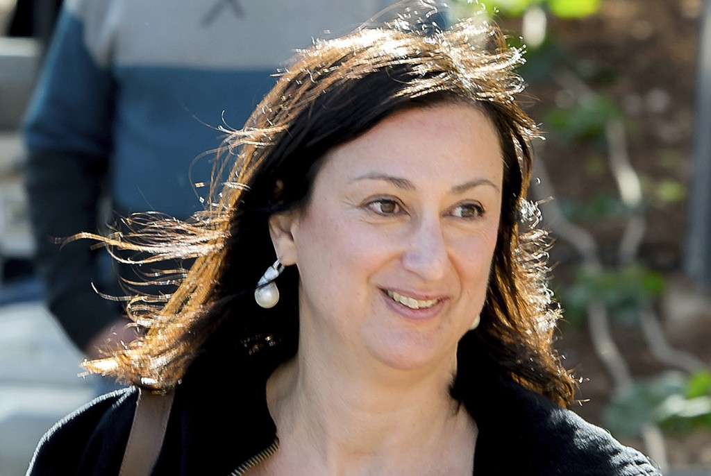 FILE - This April 4, 2016 file photo shows Maltese investigative journalist Daphne Caruana Galizia, who was killed by a car bomb in Malta on Oct. 16, ...