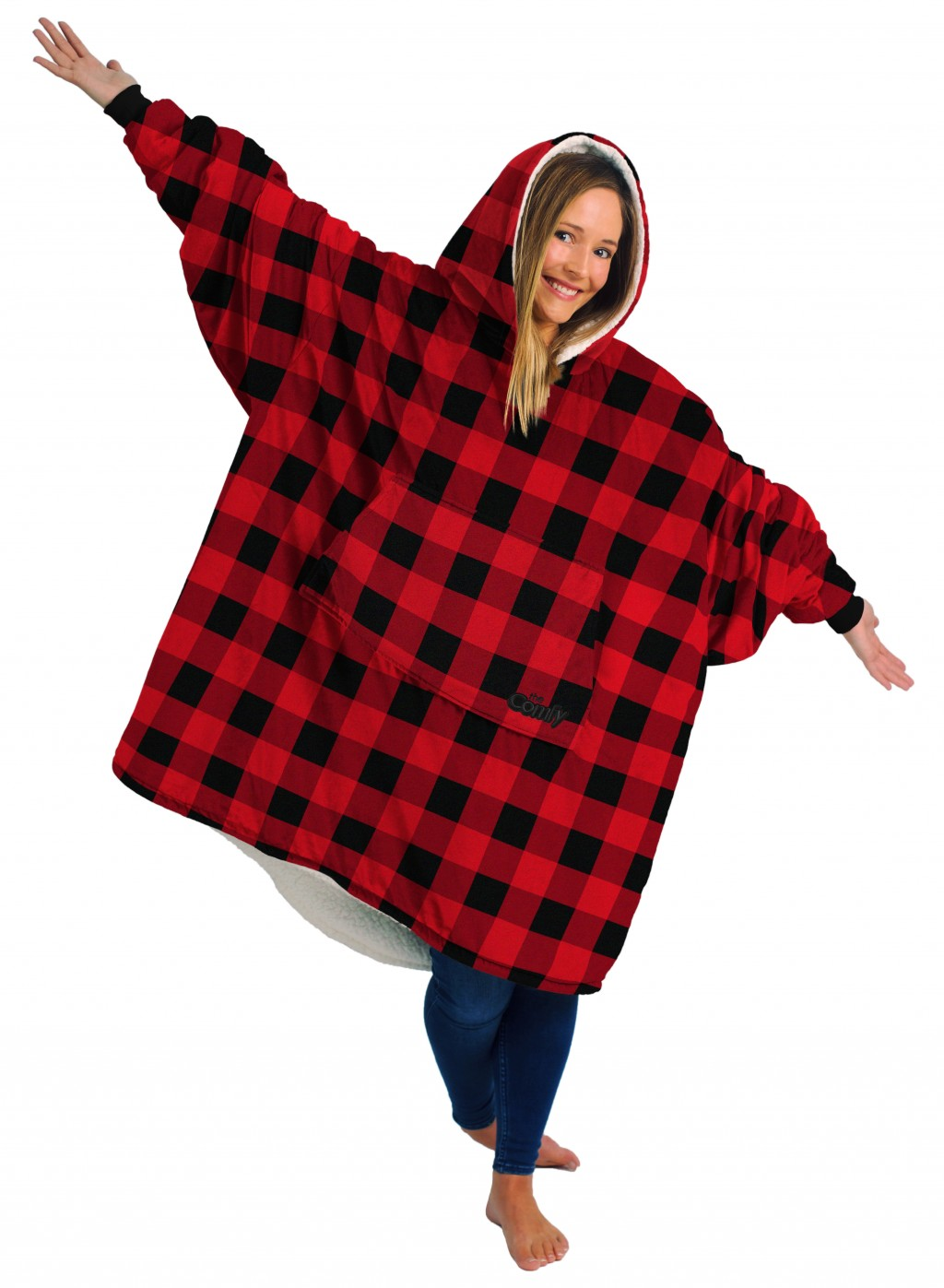 This photo shows the wearable combination blanket-hoodie called The Comfy. Chances are there's at least one TV binger on your holiday gift list. Binge...