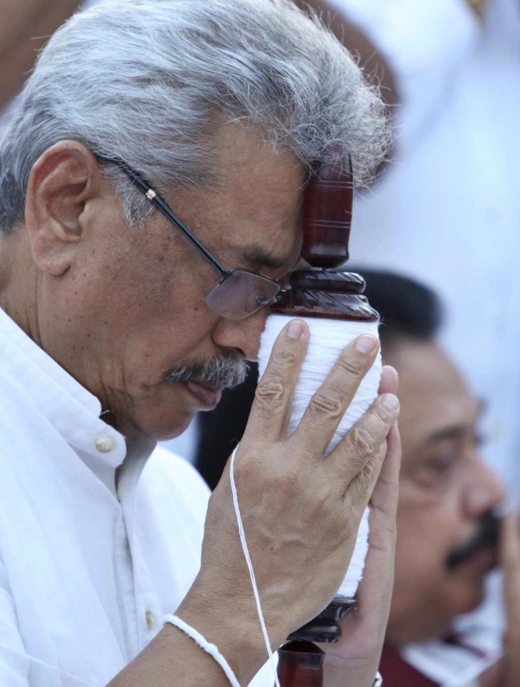 FILE- In this Aug 15, 2019, file photo, former Sri Lankan Defense Secretary and presidential candidate of the country's opposition Gotabaya Rajapaksa ...