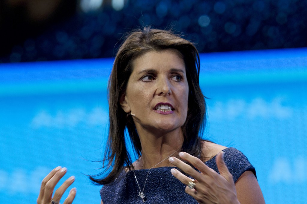 FILE - In this March 25, 2019, file photo, former Ambassador to the U.N. Nikki Haley, speaks at the 2019 American Israel Public Affairs Committee (AIP...