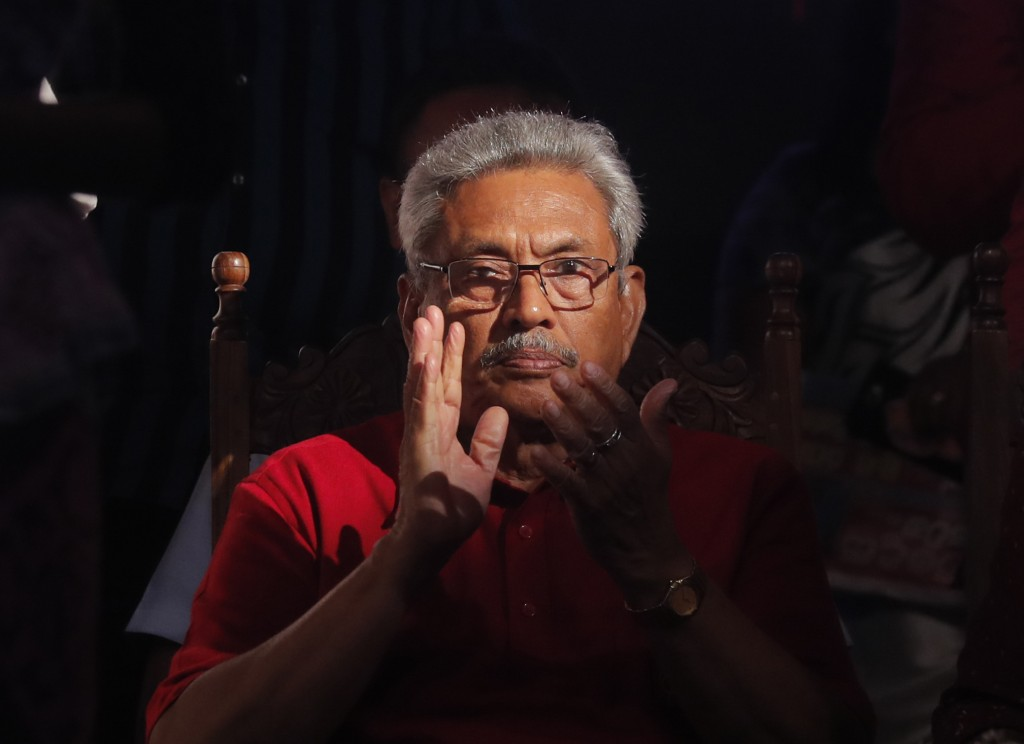 FILE- In this Nov. 13, 2019, file photo, Sri Lanka's former defense secretary and presidential candidate Gotabaya Rajapaksa attends a rally in Homagam...