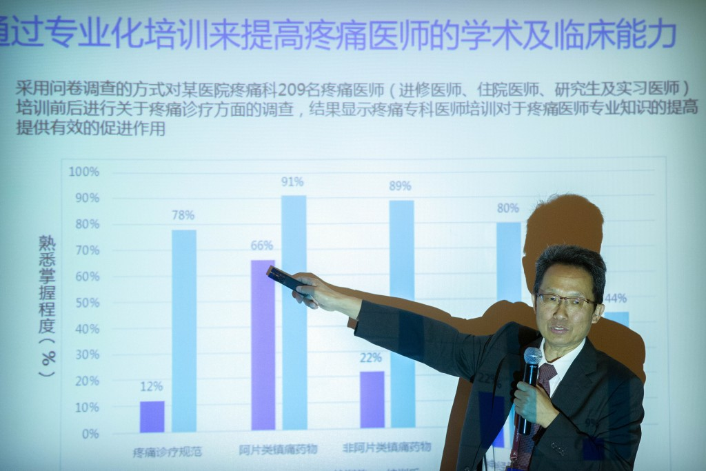 Dr. Fan Bifa, director of the pain clinic at the China-Japan Friendship Hospital in Beijing, speaks at a medical conference in Beijing, China on May 2...