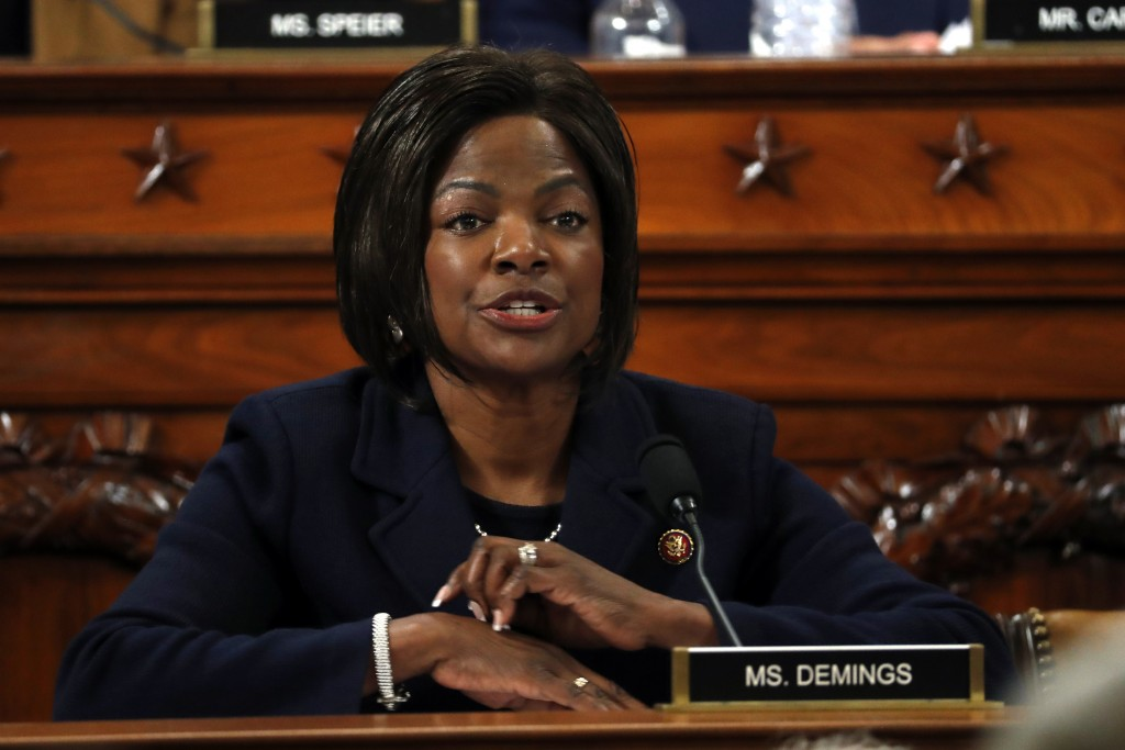 Rep. Val Demings, D-Fla., questions Jennifer Williams, an aide to Vice President Mike Pence, and National Security Council aide Lt. Col. Alexander Vin...