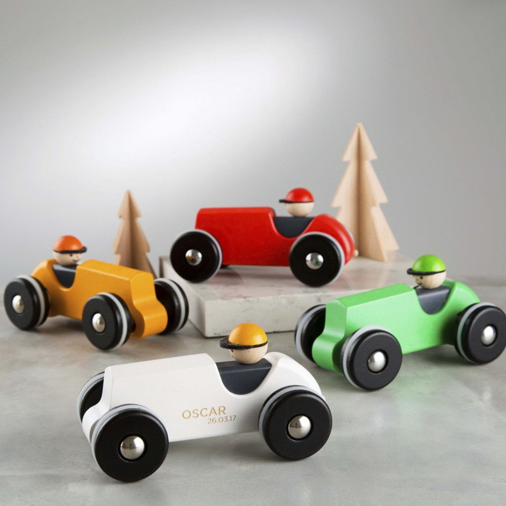 This image released by Etsy shows wooden racing car that can be engraved with a child's name and a special date from Etsy seller  TwentySevenUK. The s...