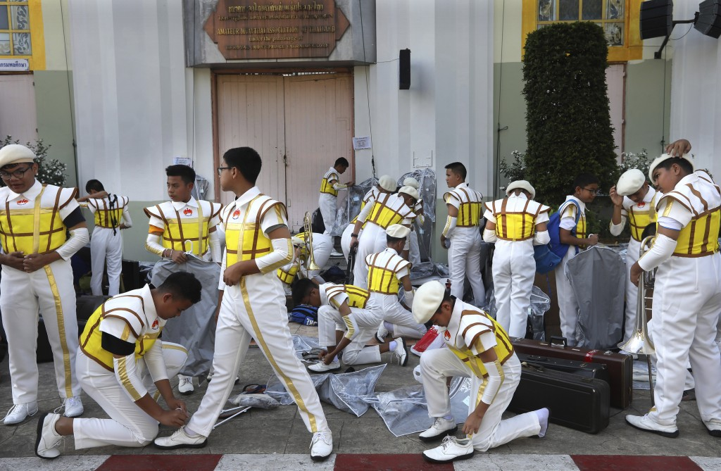School children of a band get ready for the rehearsal for a Thursday's holy Mass by Pope Francis at the national stadium, in Thailand, Wednesday, Nov....