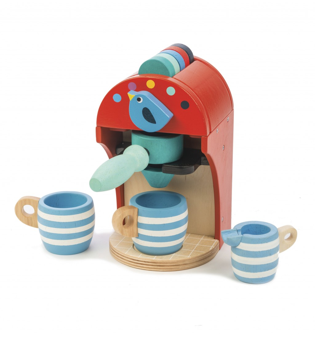 This photo released by Tender Leaf Toys shows the wooden toy Espresso Machine, complete with coffee pods that drop and a milk jug.  (AP Photo/Tender L...