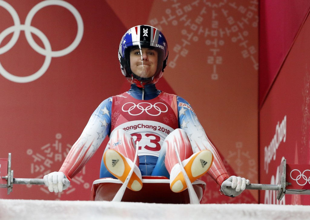 FILE - In this Monday, Feb. 12, 2018 file photo, Emily Sweeney of the United States starts her first run during the women's luge competition at the 20...