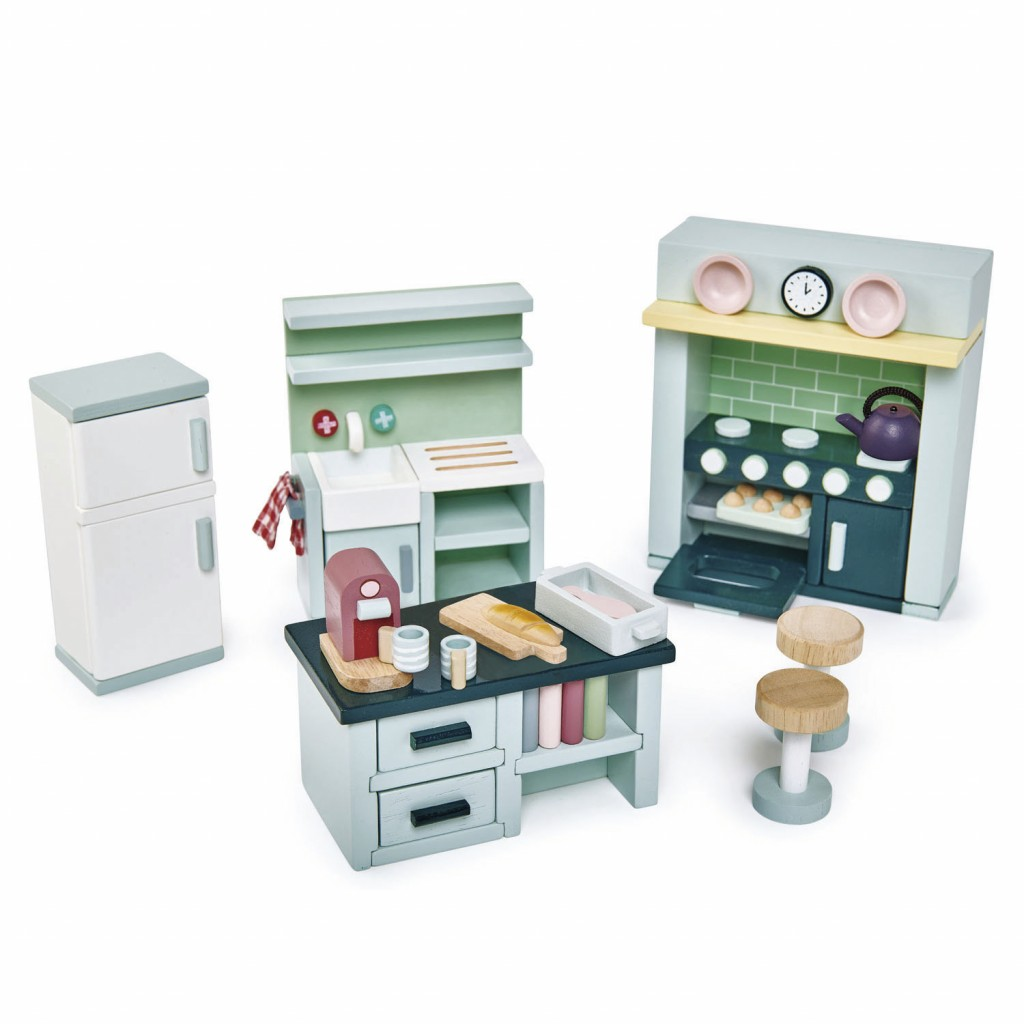 This photo released by Tender Leaf Toys shows the wooden toy Dovetail Kitchen Set. Lots of wooden play kitchens and toy appliances are out there, but ...