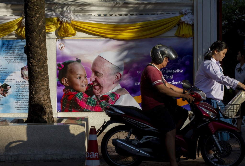 Walls of the Assumption convent are decorated with posters of Pope Francis in Bangkok, Thailand, Wednesday, Nov. 20, 2019. Pope Francis arrives in Tha...