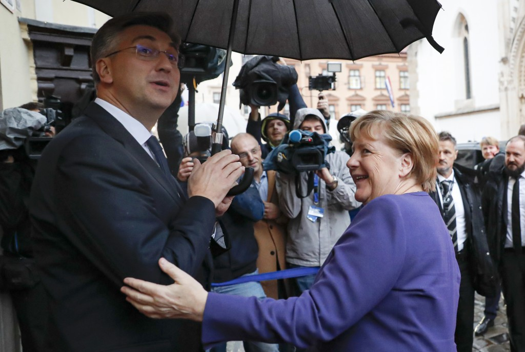 German Chancellor Angela Merkel, right, meets Croatia's prime minister Andrej Plenkovic in Zagreb, Croatia, Wednesday, Nov. 20, 2019. will attend the ...