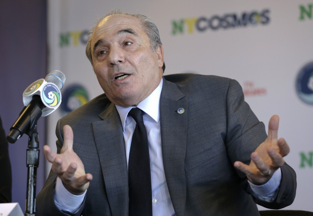 FILE - In this Tuesday, March 21, 2017 file photo, Rocco Commisso, speaks to reporters during a news conference in the Brooklyn borough of New York. I...