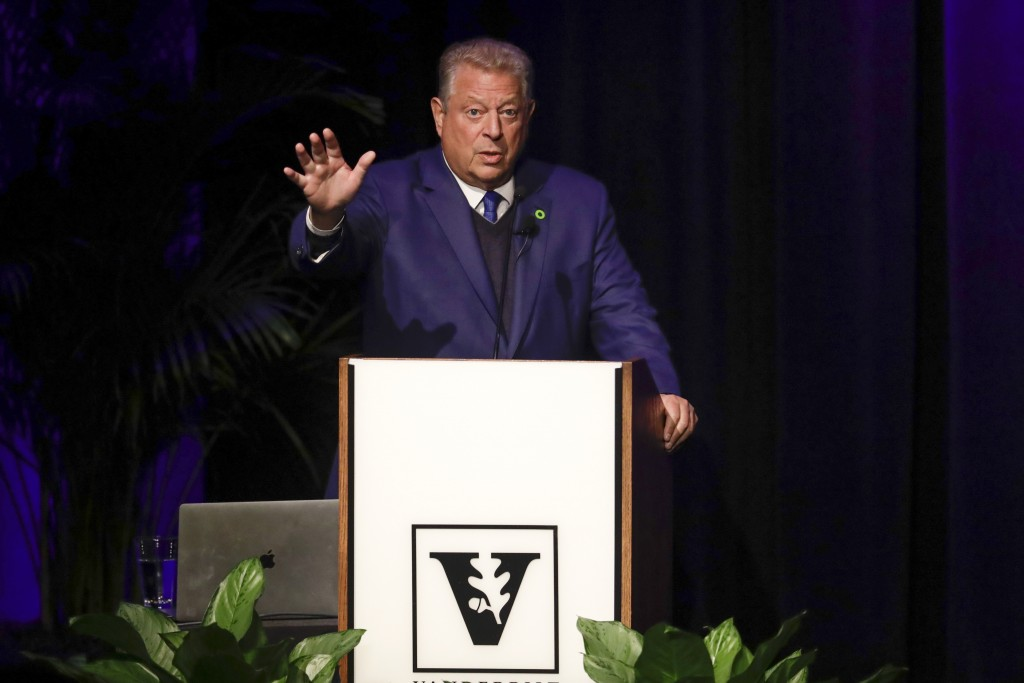Former Vice President Al Gore speaks on climate change at Vanderbilt University as part of a worldwide event called 24 Hours of Reality: Truth in Acti...