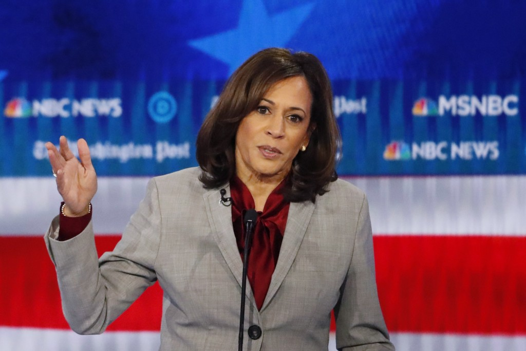 Democratic presidential candidate Sen. Kamala Harris, D-Calif., speaks during a Democratic presidential primary debate, Wednesday, Nov. 20, 2019, in A...