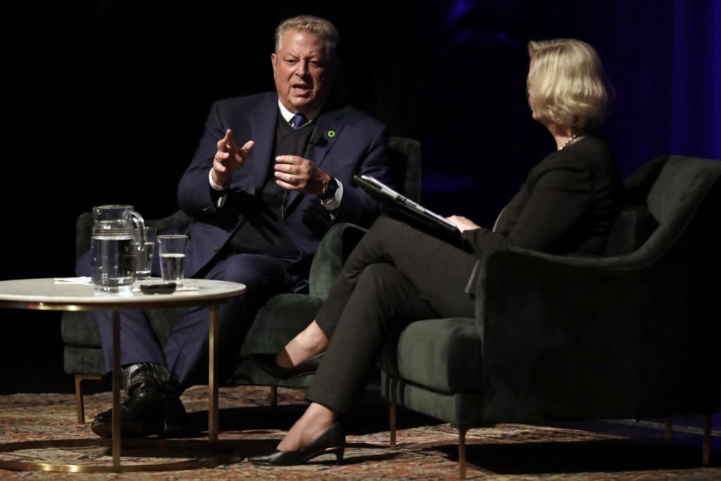 Former Vice President Al Gore speaks with Susan Wente, Vanderbilt University interim provost and chancellor, Wednesday, Nov. 20, 2019, in Nashville, T...