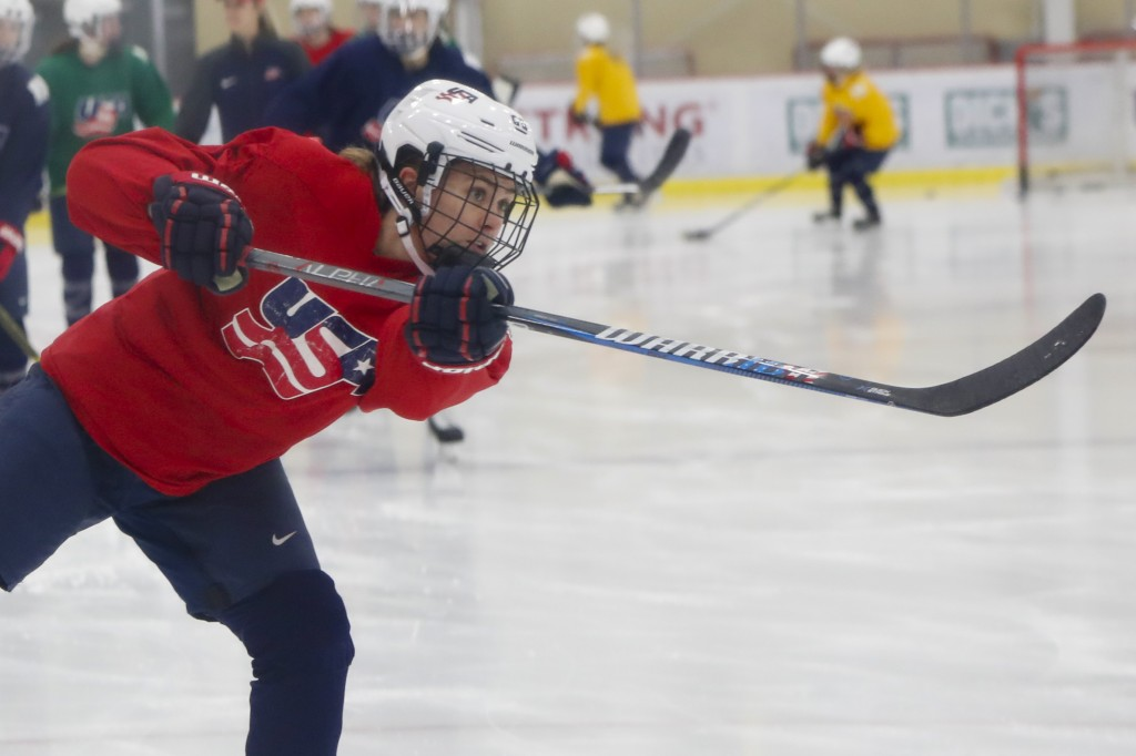 In this Monday, Nov. 4, 2019, photo, Alexandra Carpenter goes through drills while playing with the U.S. Women's National hockey team in Cranberry Tow...