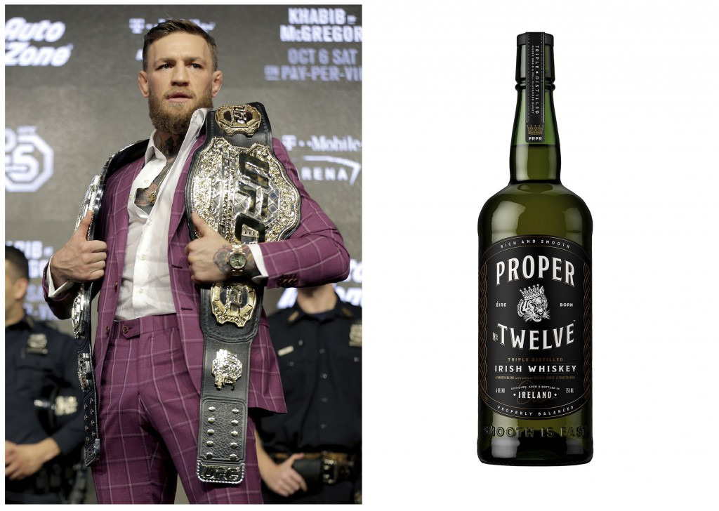 This combination photo shows Mix Martial Arts fighter Conor McGregor posing with a UFC championship belt during a news conference in New York, on Sept...