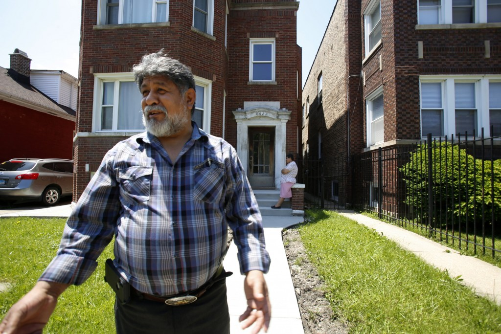 Jose Mena, 60, stands outside his apartment building in Chicago on June 2, 2019. He and wife Maria, both Mexican immigrants, moved to the Chicago Lawn...