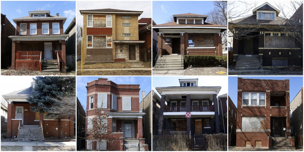 This combination of March 18, 2019, photos shows nine of about 350 vacant homes and apartment buildings that remain in the Chicago Lawn neighborhood o...