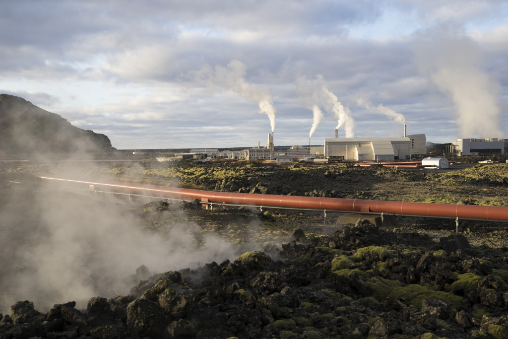 This photo taken Monday Oct. 28, 2019 shows the geothermal energy company HS Orka in Reykjanes, Iceland. The people of Iceland, who speak a unique dia...