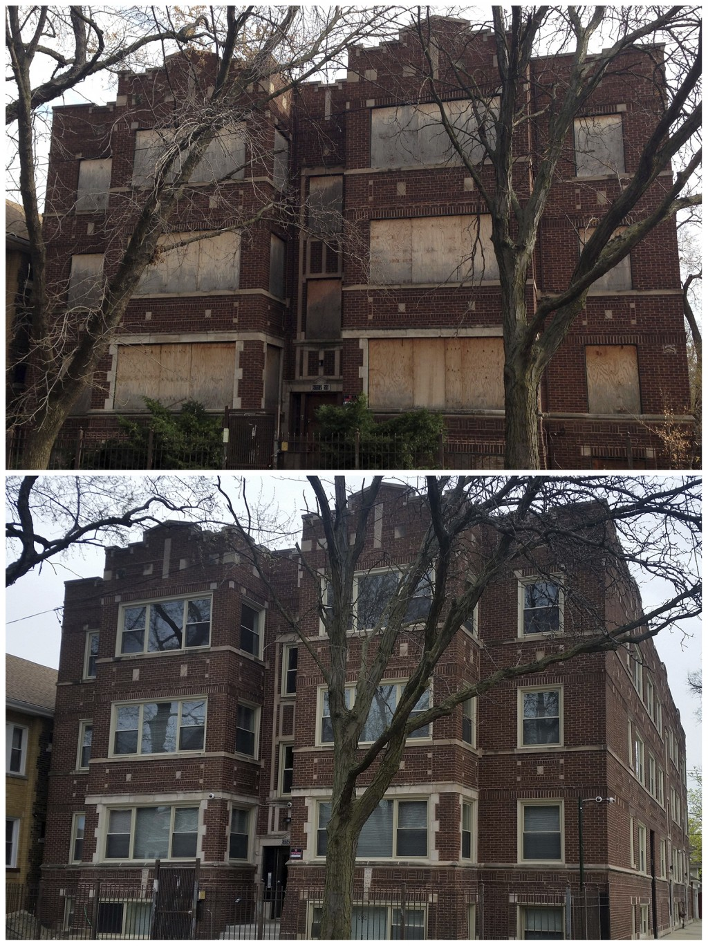 This combination of photos taken on Nov. 15, 2013, top, and again on April 19, 2016, bottom, shows an apartment building at 62nd Street and Washtenaw ...