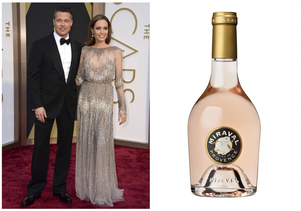 This combination photo shows Brad Pitt and Angelina Jolie at the Oscars in Los Angeles on March 2, 2014,, left, and a bottle of their Chateau Miraval ...