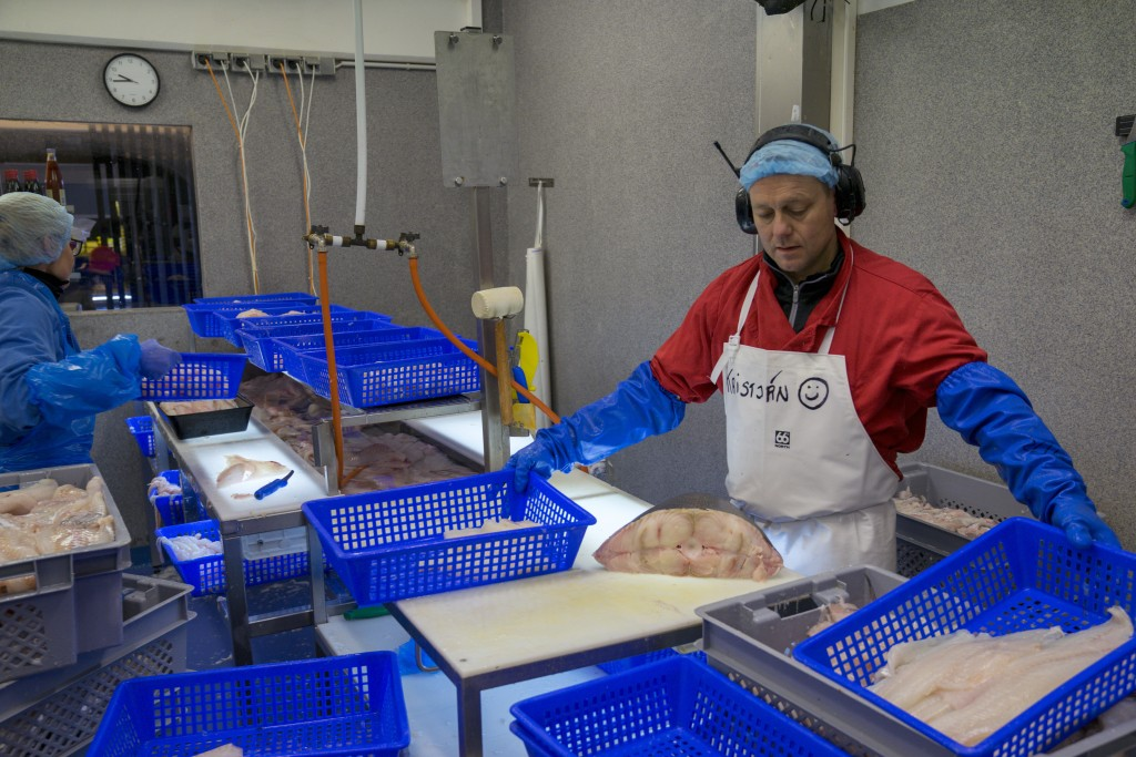 In this photo taken Monday Oct. 28, 2019, fishmonger Kristjan Asgeirsson is seen at work in Reykjavik, Iceland. Asgeirsson lost $68,000 in an online s...