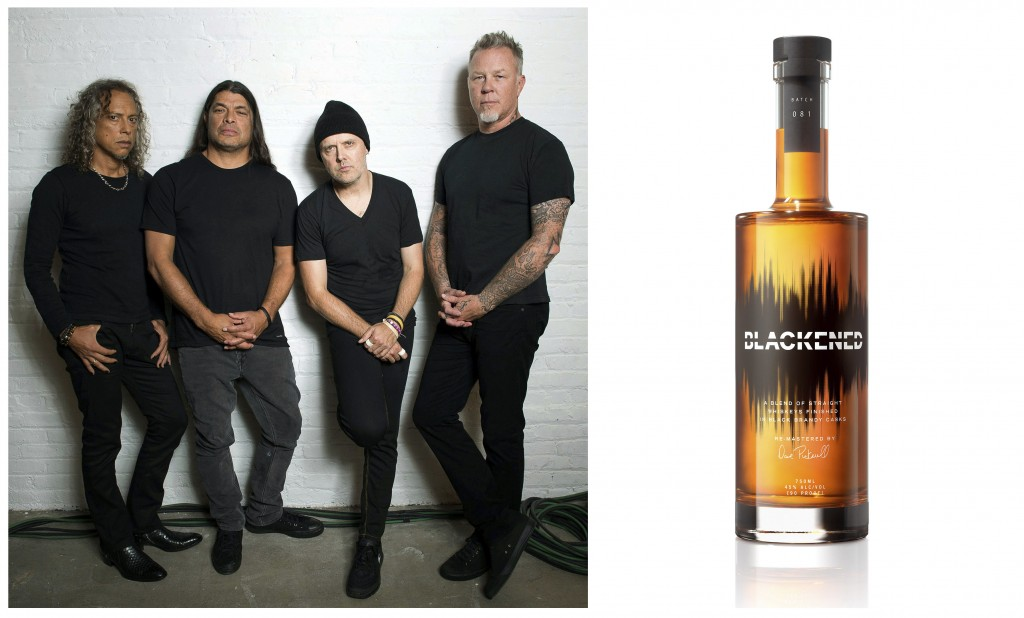 This combination photo shows, members of the heavy metal band Metallica, from left, Kirk Hammett, Robert Trujillo, Lars Ulrich and James Hetfield and ...