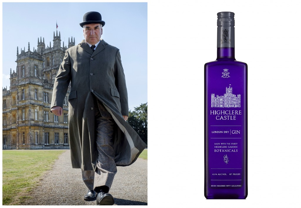 """This combination photo shows actor Jim Carter portraying Mr. Carson walking away from Highclere Castle in a scene from the film """"Downtown Abbey,"""" left..."""