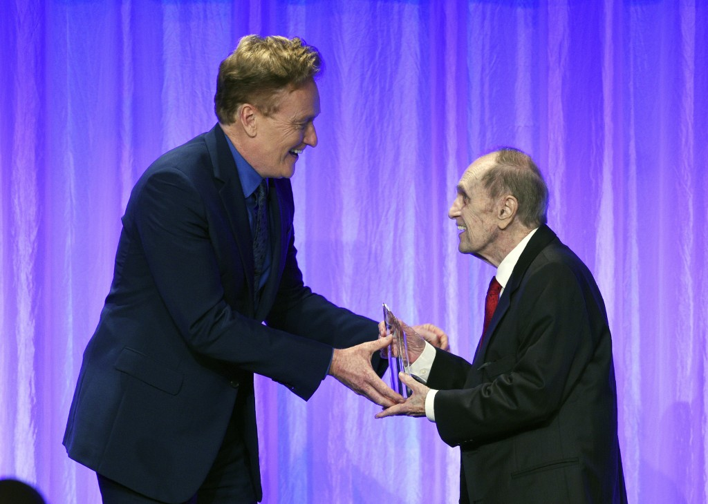 "Honoree Bob Newhart, right, accepts his award from presenter Conan O'Brien during ""The Paley Honors: A Special Tribute to Television's Comedy Legends""..."