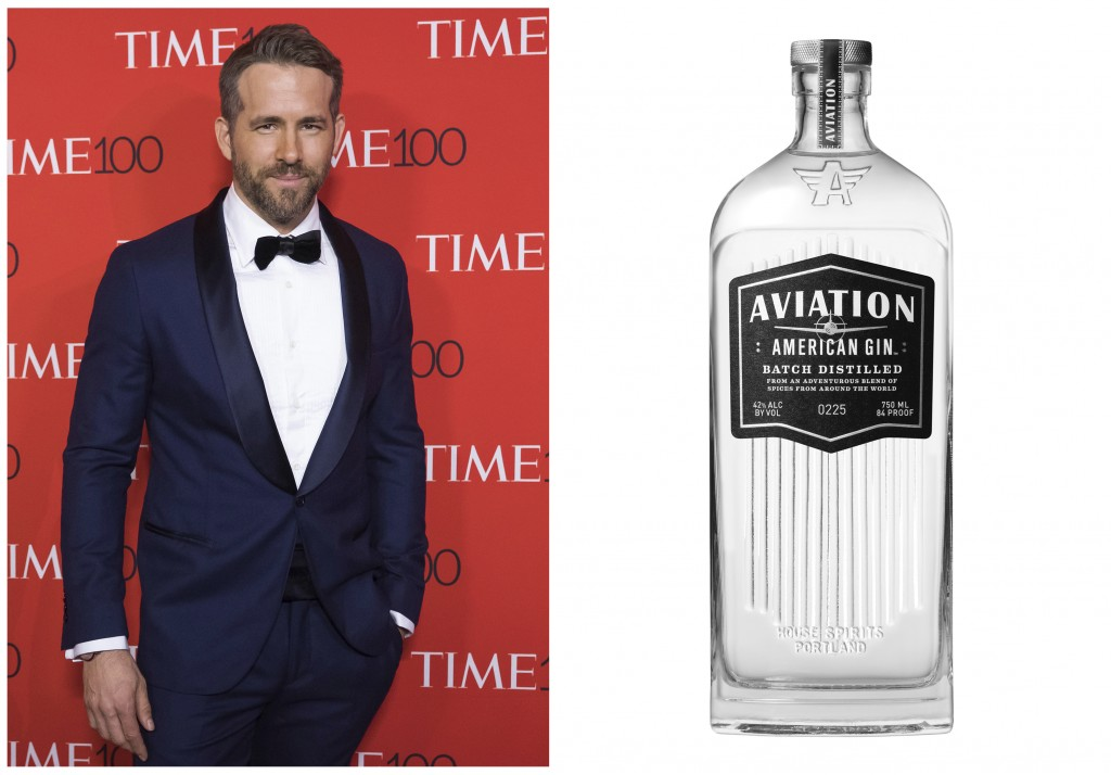 This combination photo shows Ryan Reynolds attending the TIME 100 Gala in New York on April 25, 2017, left, and a bottle of his Aviation American Gin....