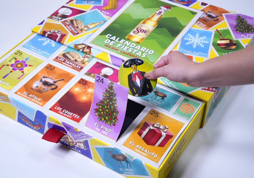 This photo released by Sol Cerveza shows the Calendario de Fiestas holiday calendar. From edibles to beauty, Advent calendars counting down to Christm...
