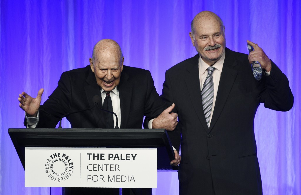 "Honoree Carl Reiner, left, is joined by his son Rob Reiner as he accepts his award at ""The Paley Honors: A Special Tribute to Television's Comedy Lege..."