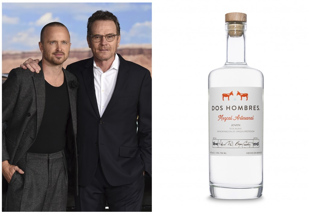 """This combination photo shows """"Breaking Bad"""" actors Aaron Paul, left, and Bryan Cranston at the Los Angeles premiere of  their film, """"El Camino: A Brea..."""