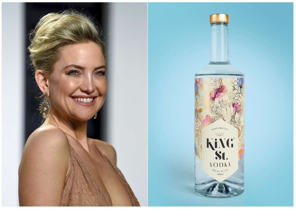 This combination photo shows actress Kate Hudson at the Vanity Fair Oscar Party in Beverly Hills, Calif. on Feb. 27, 2017, left, and a bottle of her g...