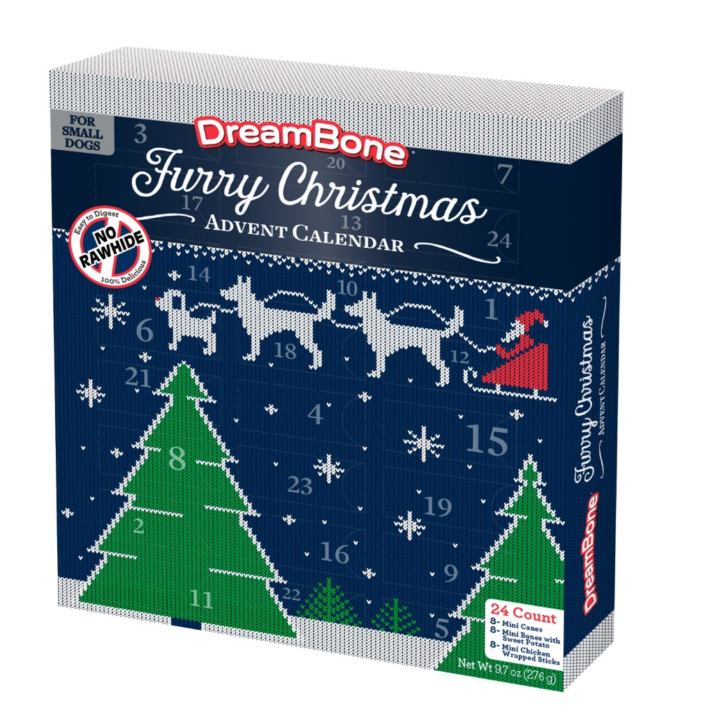This photo released by DreamBone shows the Furry Christmas Advent Calendar. From edibles to beauty, Advent calendars counting down to Christmas have e...