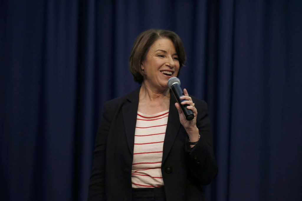 Democratic presidential candidate Sen. Amy Klobuchar, D-Minn., speaks during a campaign stop, Friday, Nov. 22, 2019, in Henniker, N.H. (AP Photo/Mary ...