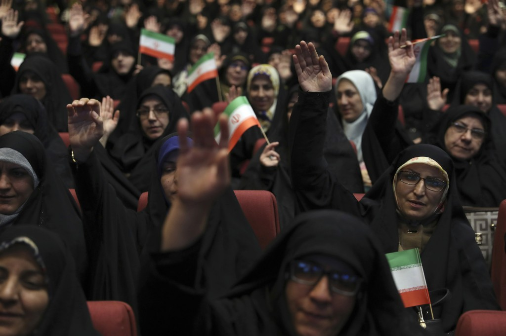 "Female members of the the Basij paramilitary force affiliated to the Iran's Revolutionary Guard attend one of the ceremonies marking ""Basij Week,"" and..."