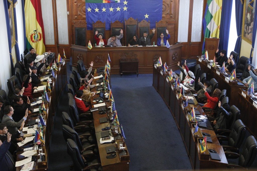 Senators approve a bill on holding new elections in La Paz, Bolivia, Saturday, Nov. 23, 2019. Bolivia is struggling to stabilize after weeks of anti-g...