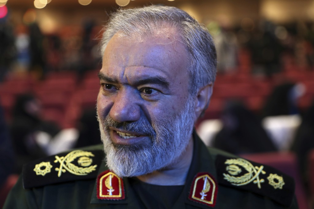 Deputy commander of the Iran's Revolutionary Guard Gen. Ali Fadavi attends a ceremony of female members of the Guard-affiliated Basij paramilitary for...