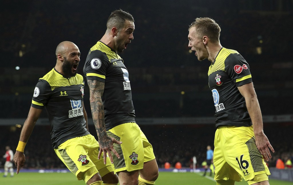 Southampton's James Ward-Prowse (right) celebrates scoring his side's second goal of the game with Danny Ings , during the English Premier League socc...