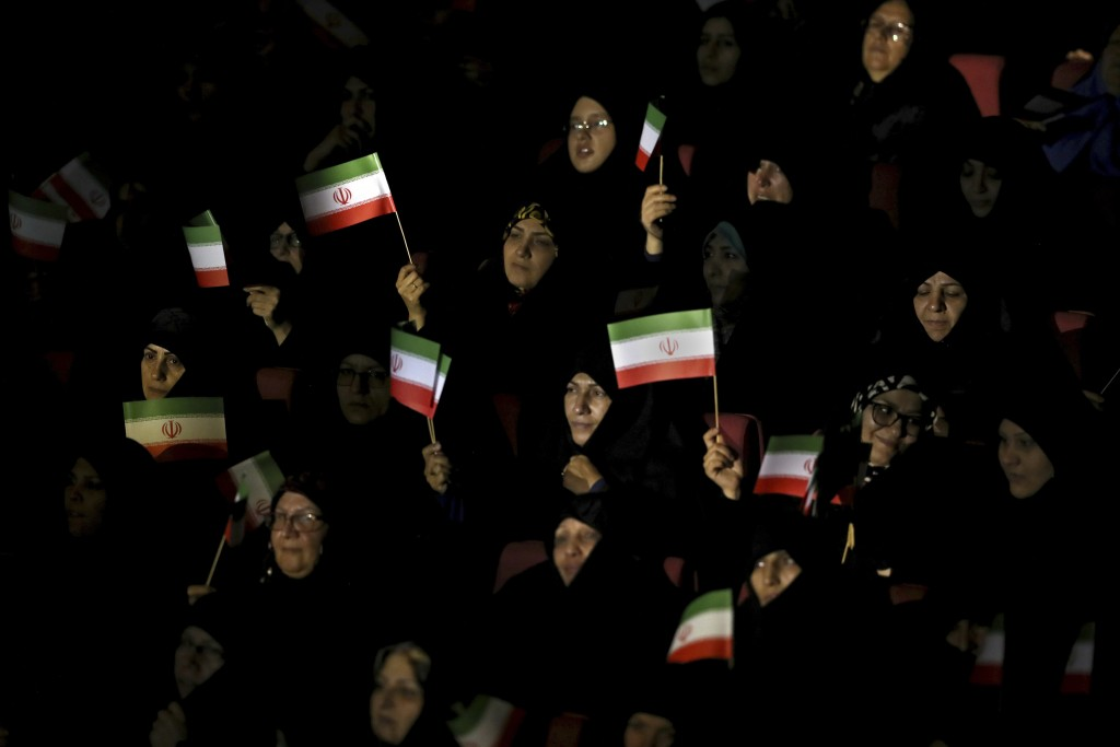 "Female members of the the Basij paramilitary force affiliated to the Iran's Revolutionary Guard attend in one of the ceremonies marking ""Basij Week"" a..."