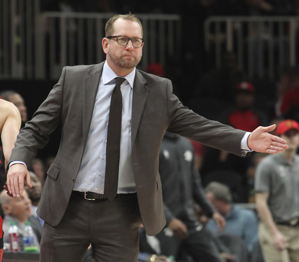 Toronto Raptors head coach Nick Nurse reacts during the second half of an NBA basketball game against the Atlanta Hawks Saturday, Nov. 23, 2019, in At...