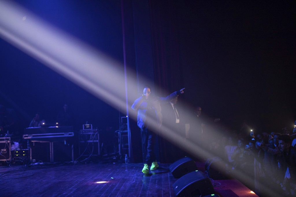 In this Friday, Nov. 22, 2019 photo, Moroccan rapper Madd performs at a rap concert as part of the Visa for Music festival in Rabat, Morocco. (AP Phot...