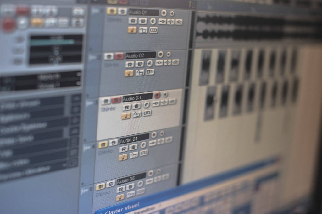 In this Thursday, Nov. 21, 2019 photo, a view of an audio mixing software used by Moroccan rapper Yahya Semlali, 31, known as LZ3er, in his studio in ...