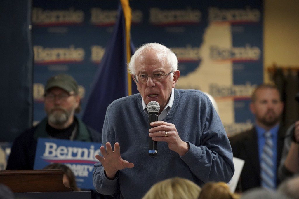 Democratic presidential candidate Sen. Bernie Sanders, I-Vt., speaks during a campaign stop, Sunday, Nov. 24, 2019, in Hillsboro, N.H. (AP Photo/Mary ...