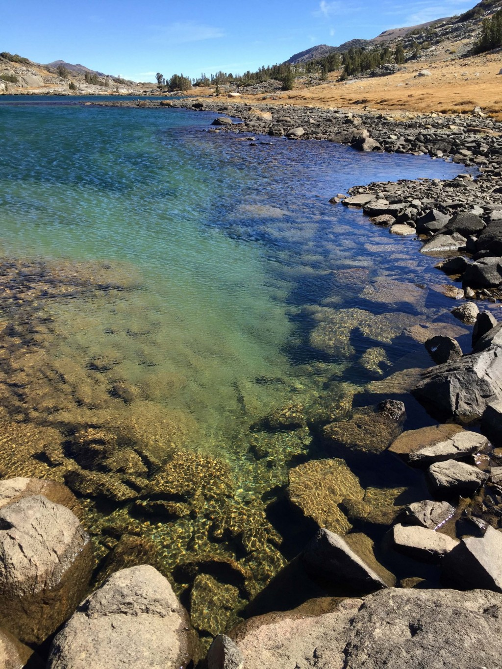 This Sept. 30, 2018 photo shows the shoreline of Upper Gaylor Lake on the far eastern side of Yosemite National Park, reached after a 1.5-mile hike. I...